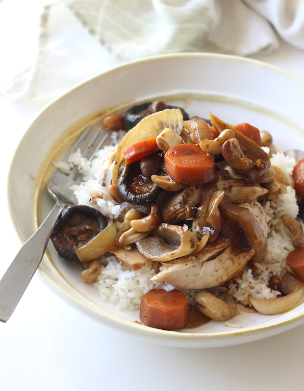 Slow Cooked Chinese Five Spice Chicken With Cashews Shiitake Mushrooms
