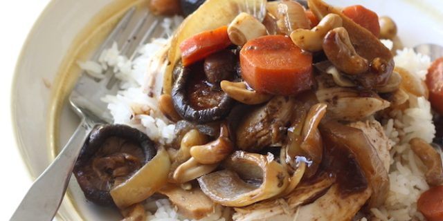 Slow-Cooked Chinese Five Spice Chicken with Cashews & Shiitake Mushrooms