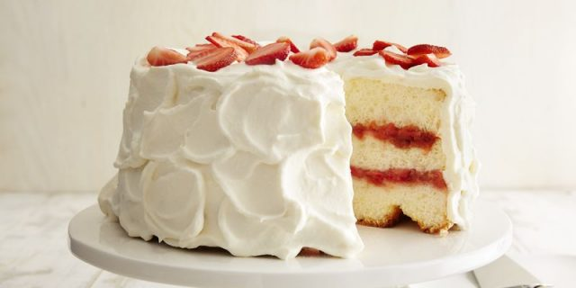 Strawberry Rhubarb Angel Cake